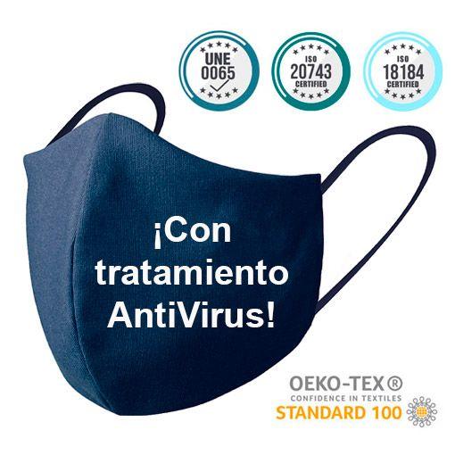 Mascarillas higiénicas reutilizables, tratamiento antivirus