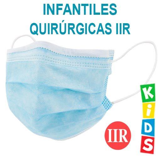 Mascarillas infantiles quirúrgicas IIR, color azul