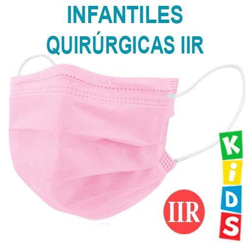 Mascarillas infantiles quirúrgicas IIR, color rosa