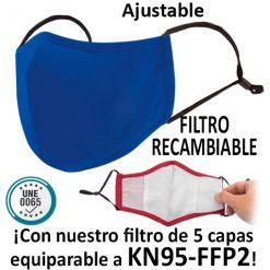 Mascarillas reutilizables con filtro recambiable, azul royal