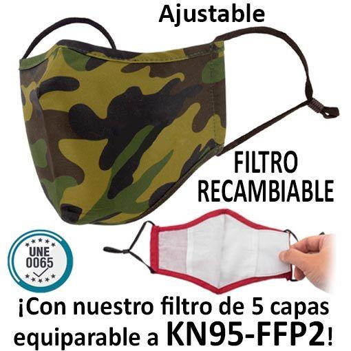 Mascarillas reutilizables con filtro recambiable, camuflaje