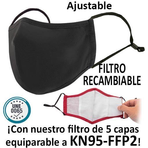 Mascarillas reutilizables con filtro recambiable, negro
