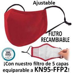 Mascarillas reutilizables con filtro recambiable, rojo