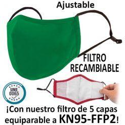 Mascarillas reutilizables con filtro recambiable, verde