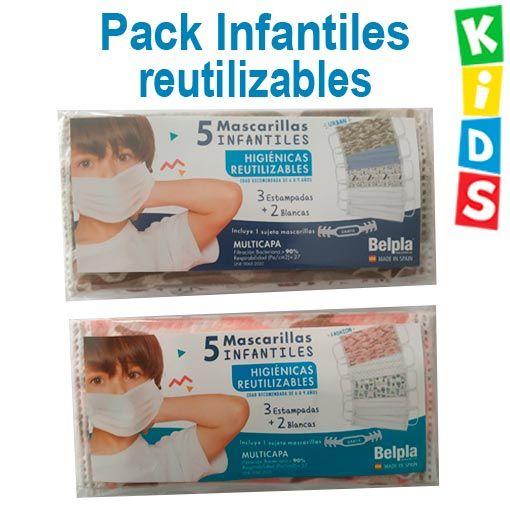 Mascarillas infantiles reutilizables, pack 5