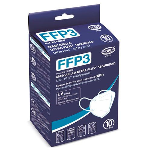 Mascarillas FFP3 blancas, caja presentación