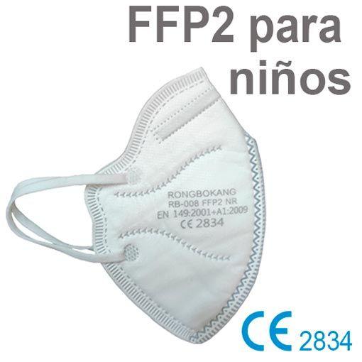 Mascarillas FFP2 niños, color blanco