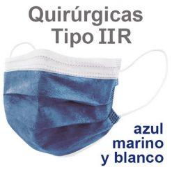 Mascarillas quirúrgicas IIR azul marino y blanco