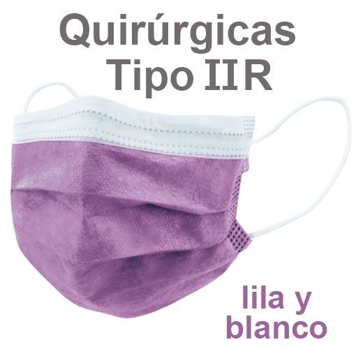 Mascarillas quirúrgicas IIR lila y blanco
