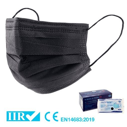 Mascarillas quirúrgicas negras tipo IIR, homologadas
