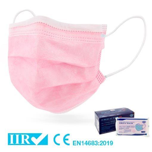 Mascarillas quirúrgicas rosas tipo IIR, homologadas