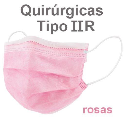 Mascarillas quirúrgicas IIR rosas